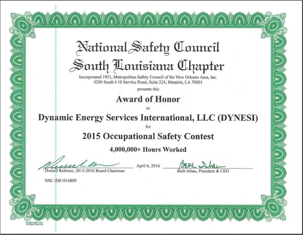 NSC Award of Honor